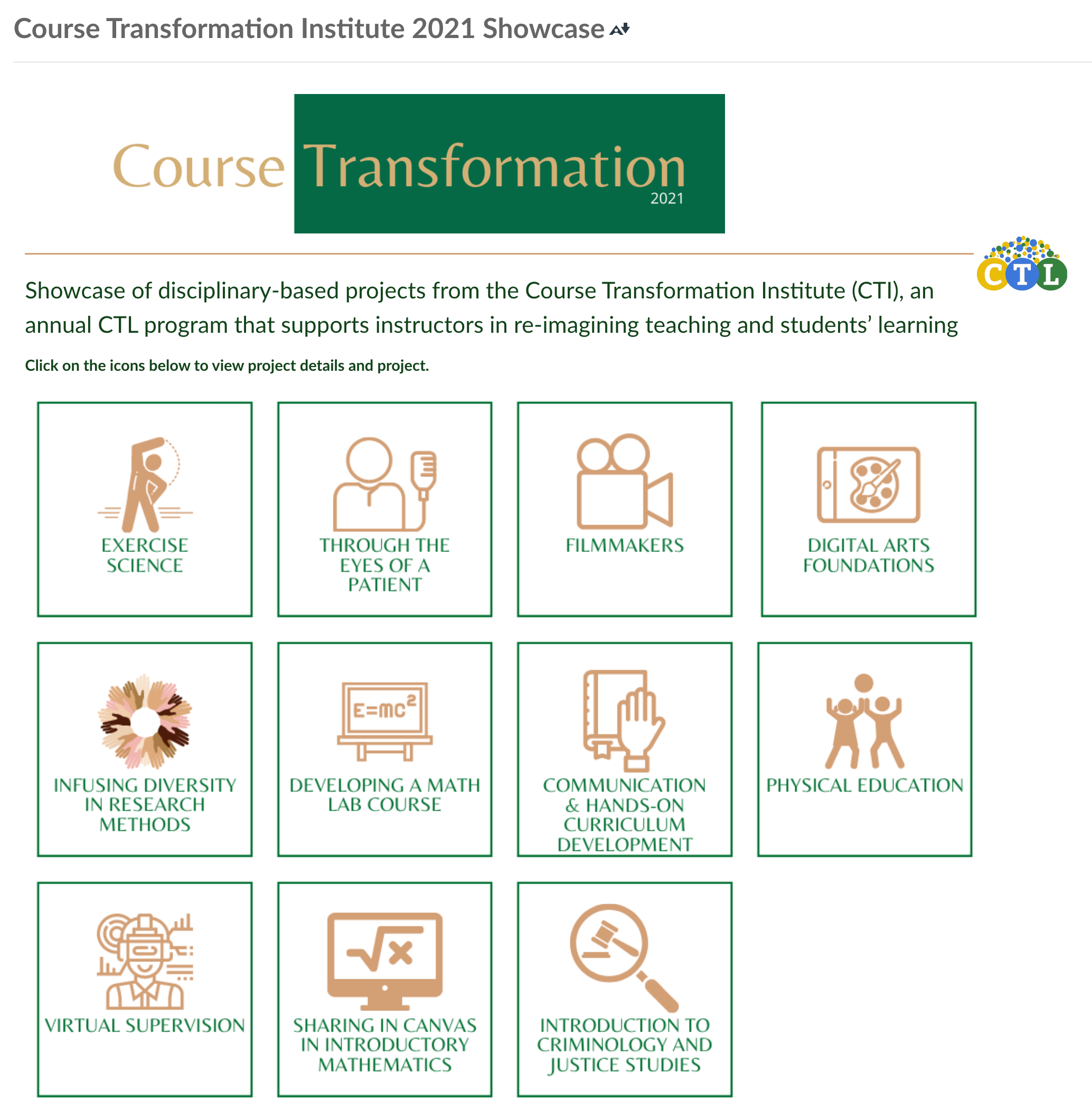 Course Transformation Showcase homepage with list of projects