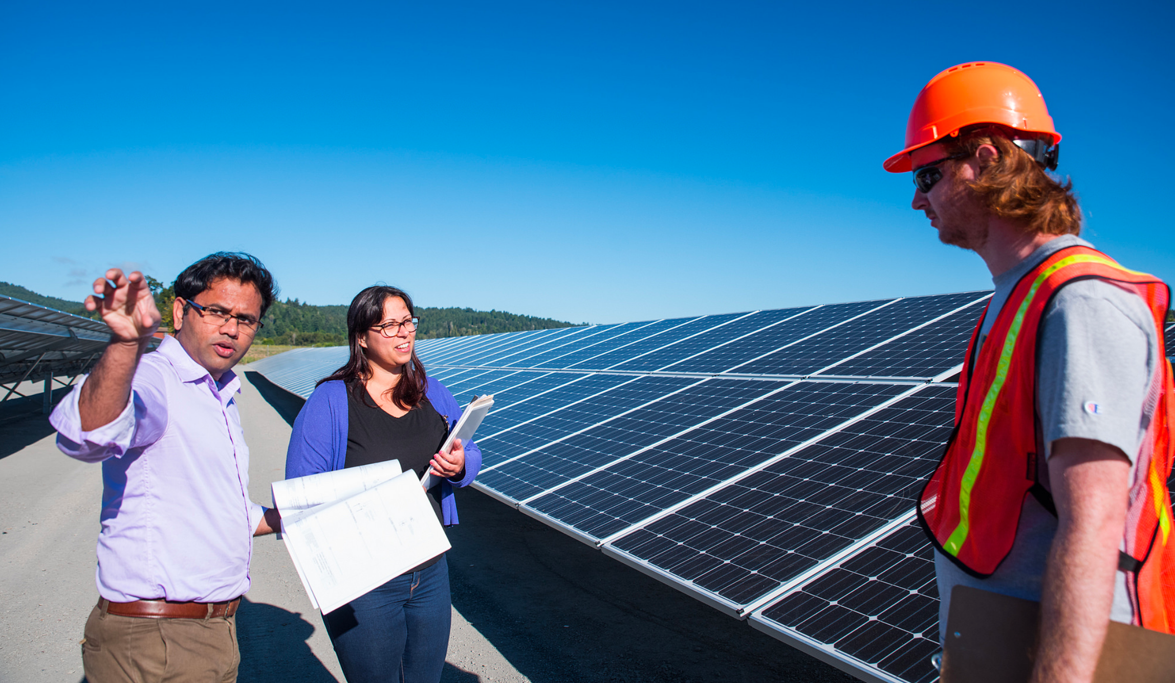 HSU grad students and student intern work on the Blue Lake Rancheria Micro Grid Project