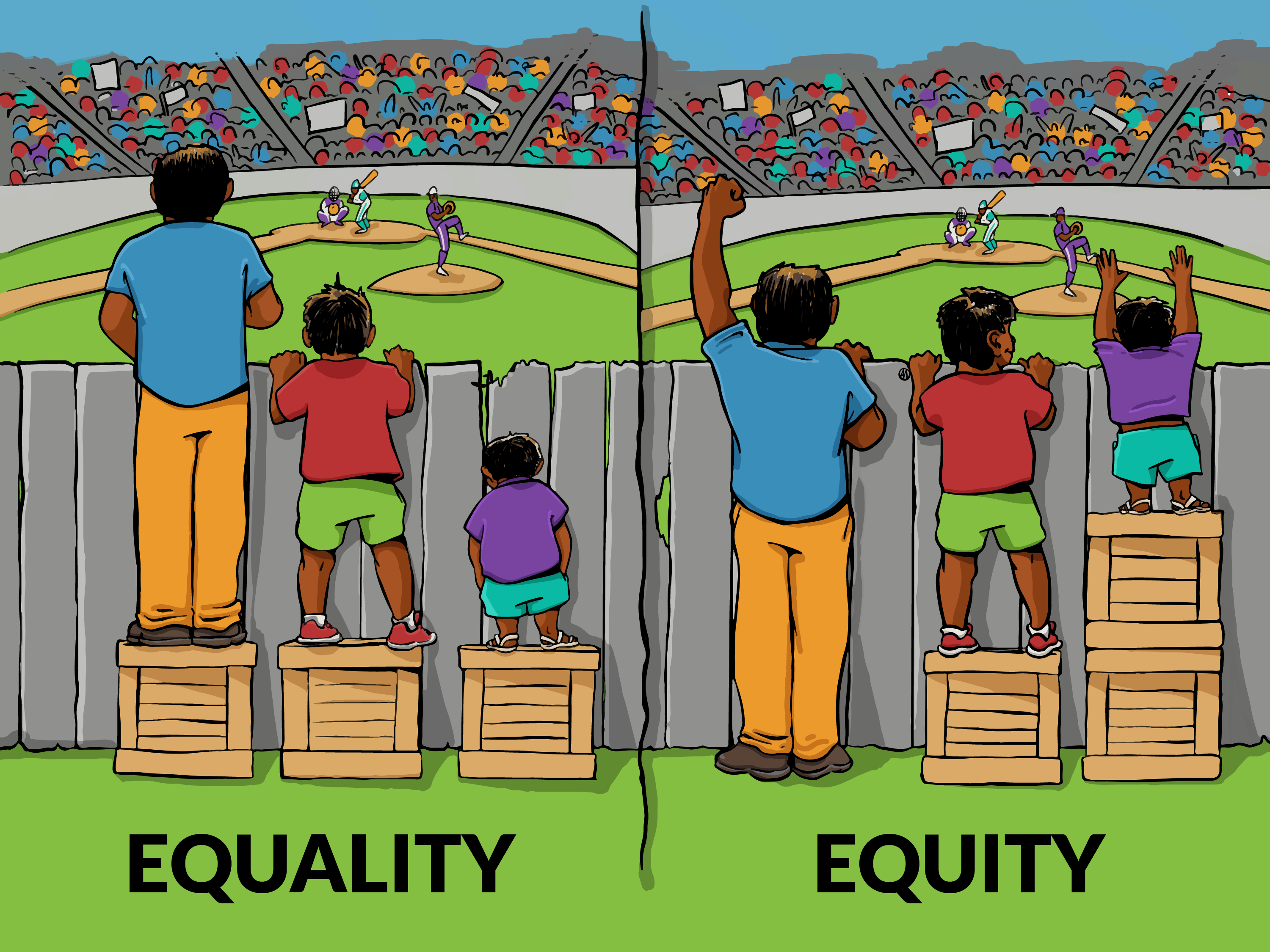 people of various heights standing on same size boxes vs boxes that bring them all to the same height illustrating the difference between equality and equity