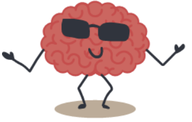 Little cartoon brain with legs, arms and sunglasses